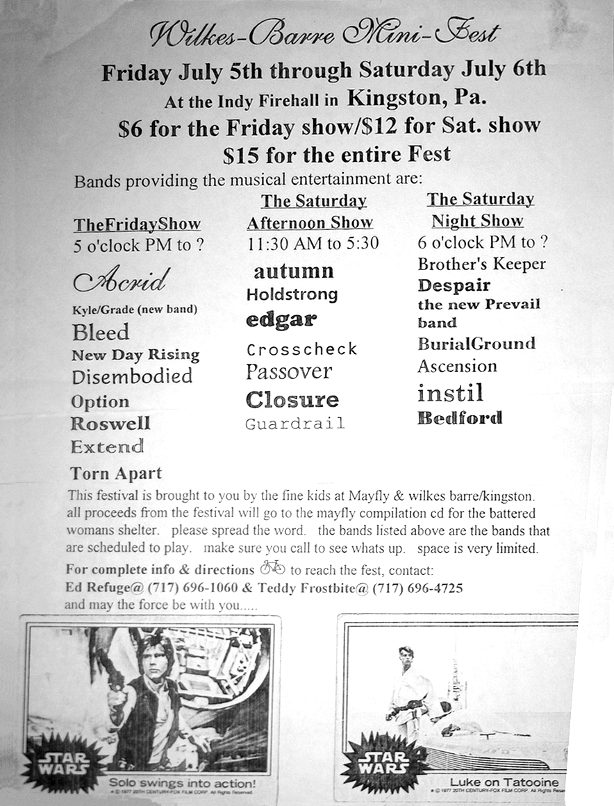 Wilkes-Barre Mini-Fest 1996. July 5th-6th at the Firehall in Kingston, PA