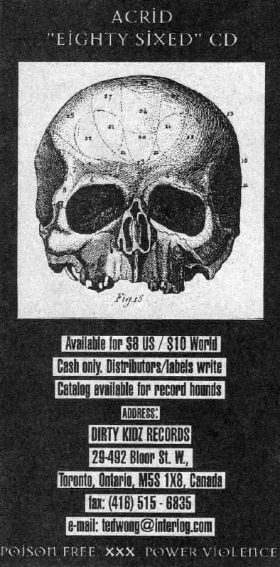 Dirty Kidz Records ad in the HeartattaCk magazine, November 1997 for Eighty-Sixed