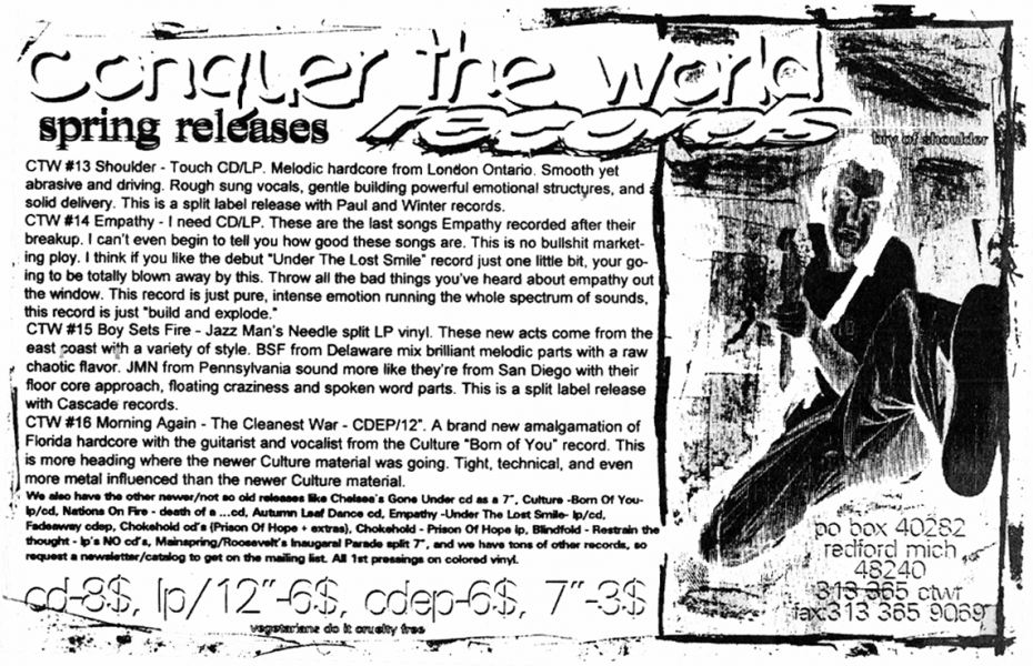 Conquer the World Records ad in Second Nature fanzine, Issue May 1996.