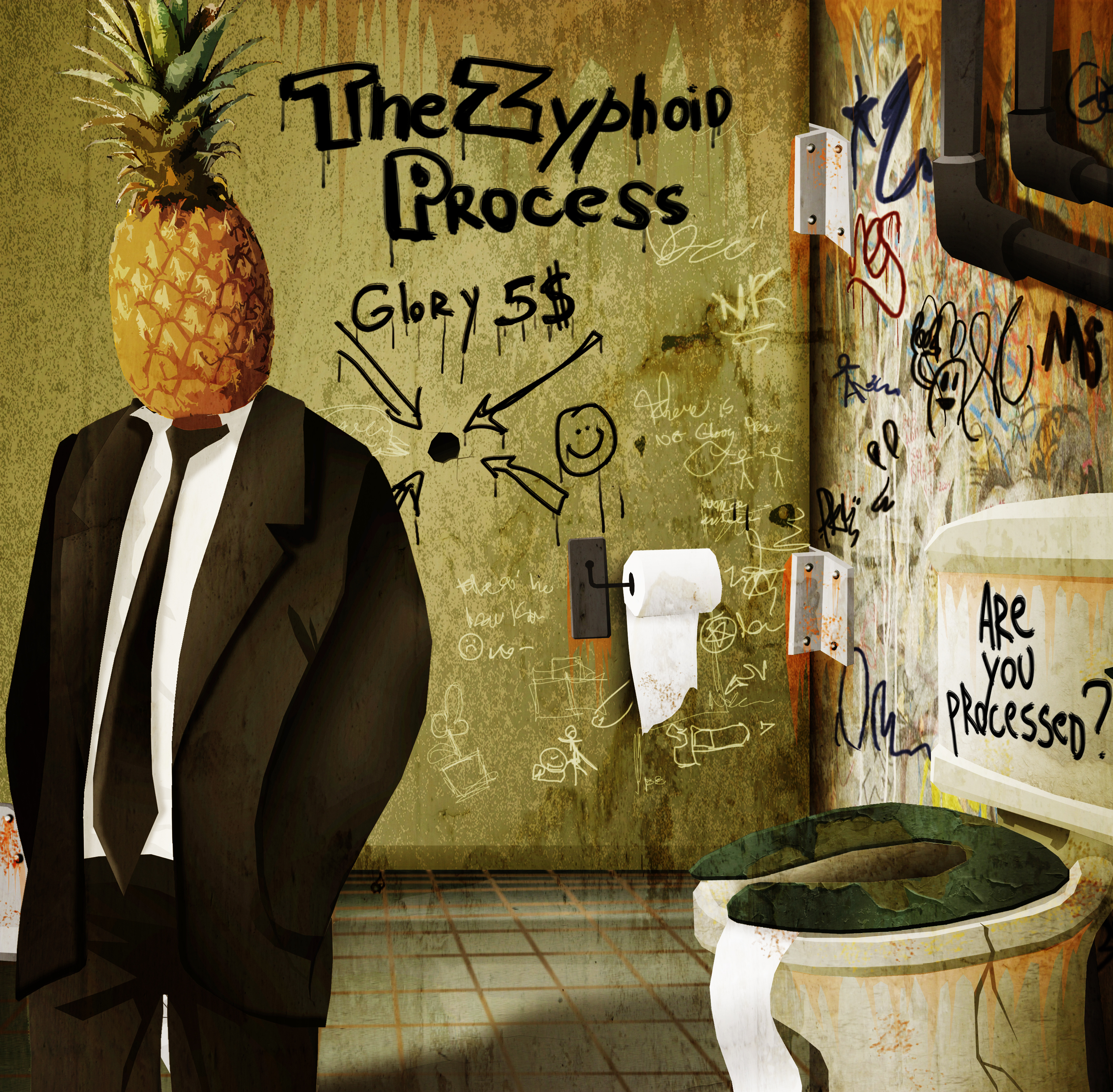 """The Zyphoid Process demo/EP """"Are You Processed?"""". Artwork by Nicolas Kudeljian"""